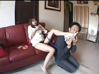 japanese beauty mistress pretends obedient slave