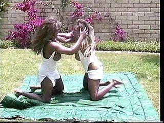 Classic ebony catfight
