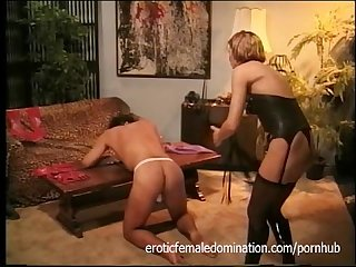 Mistress disciplines her new paying client