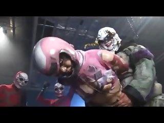 Pink power ranger gets punish