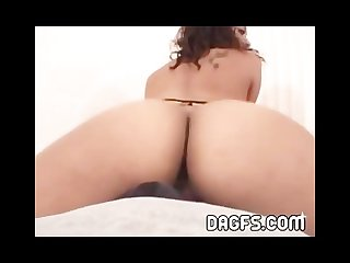 Ebony girl in army clothes fucks a huge dildo