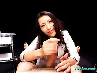 Asian girl in costume giving handjob for guy cumming to himself