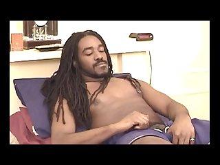 Sexy dread jerks his big swollen cock