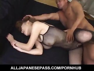 Aya sakaki gets sex toys and cock through fishnet crotchless