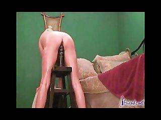 Anal giant dildo riding