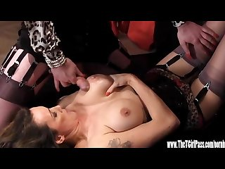 Horny crossdresser has footjob and tit wank until cumshot on milfs big tits
