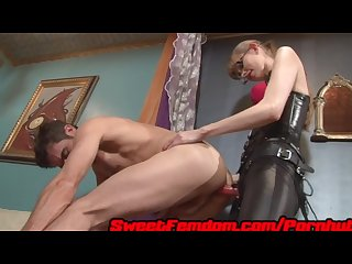 Goddess kyaa gives the sweet dick pegging femdom leather