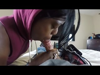 Black hooker chick takes a load in the mouth