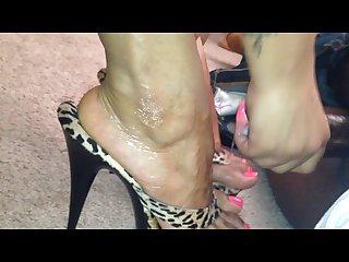 Pink toes heels cum