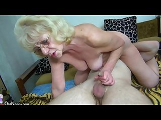 Hot young guy fucking granny with strap on