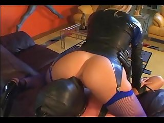 Femdom facesitting in leather and lingerie