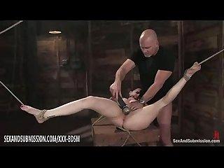 Bondage brunette babe gets pussy licking orgasm
