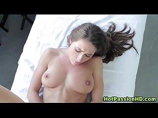 Hot busty brunette gets hot