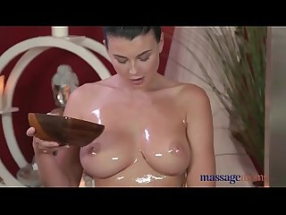 Massage Rooms Two natural big tits beauties get oiled up for lesbian fun