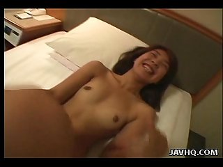 Horny asian loving her dildo right here