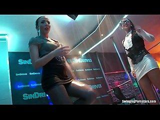 Lesbian pornstars gets wild in club