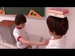 Innocent jap schoolgirl has learned how to please her hairy teachers cock