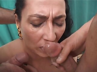 Brunette milf tied up and Abused by two filth pigs
