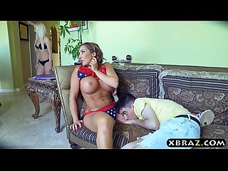 Young guy gets lucky with three MILFS at this bbq party