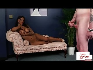English voyeur milf instructing tugging sub