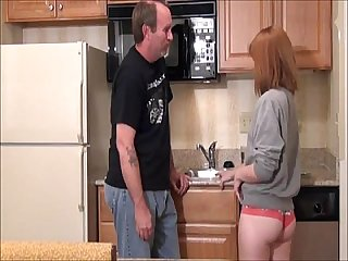 Redhead Teen Daughter seduced by old ugly dad in kitchen