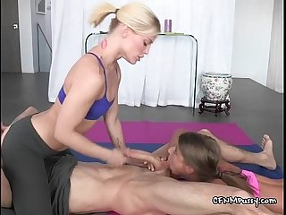 Young hoes share and suck gym instructor