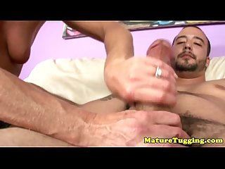 Jacking off loving grandma tugs dong