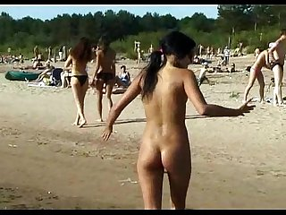 Teen nudists take off their clothes and play nude