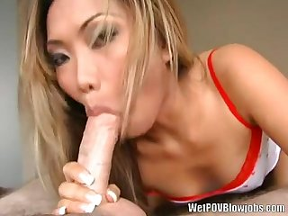 Petite asian gives pov deepthroat