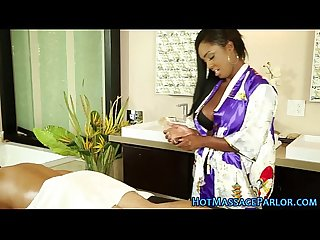 Sexy ebony masseuse jizz
