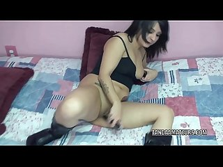 Petite cutie cristal cortez stuffs her pussy with A toy