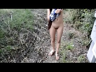 Indian girl totally naked in public park