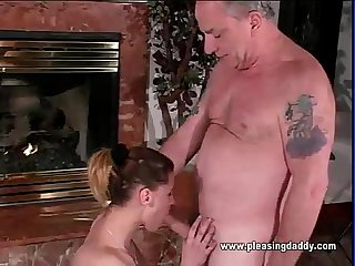 Sybian riding slut sucks uncle jesses old cock