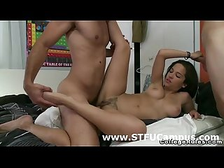Cute college amateur babe has threesome in her dorm