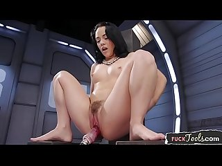 Bigass solo beauty drilled by sex machine