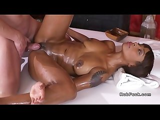 Naked huge tits ebony fucks masseur