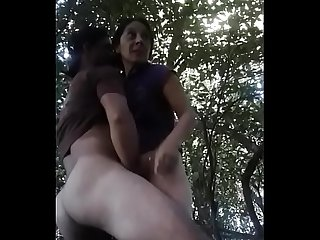 Indian Boy enjoy with Mature Bhabhi in Garden