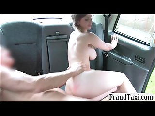 Busty passenger drilled by nasty driver in the backseat