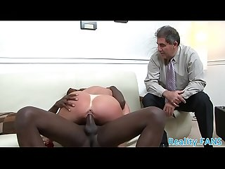 Mature wife rides bbc while hubby watches