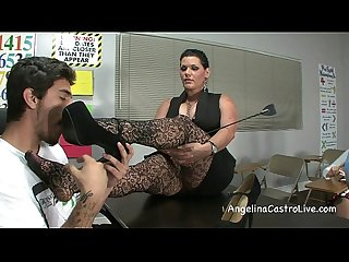 Busty angelina castro threeway footfetish bj in class excl