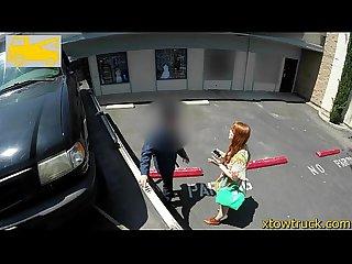 Teen redhead sucks a tow truck driver to get her car back