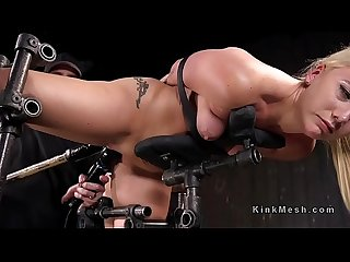 Bound in sitting position blonde got anal toyed