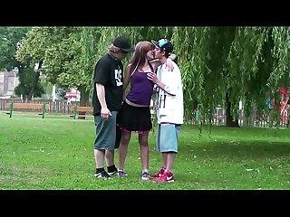 Public street teen threesome