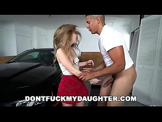 DON'T FUCK MY DAUGHTER - 18 Year Old Lilly Ford Fucks Her Father's Big Dick Friend