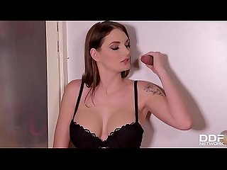 Brunette dick lover babe Marie Clarence sucks big cock through glory hole