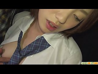 Schoolgirl Yuna Satsuki asian blowjob and public fuck