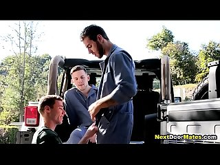 Broke gay fucks 2 car mechanics - bareback threesome gay sex