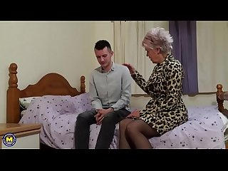 British mature slut lady sextasy doing her toyboy