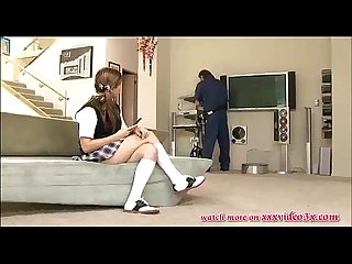 Hot schoolgirl fucked by the cable man