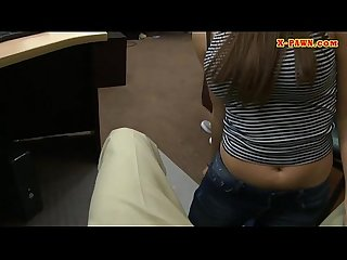 Curvy brunette banged at the pawnshop